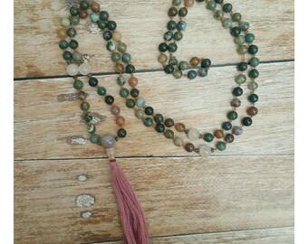 Agate Mala Necklace - Rose Quartz Mala Necklace - Heart Chakra Necklace - Gift for Yogi - Yoga Jewelry - 108 Mala Beads - Mala Necklace