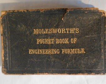 Molesworth's Pocket Book of Engineering 1878 LEATHER 19th Printing Useful Formulae & Memoranda for Civil and Mechanical Engineers Telegraphs