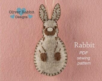 Rabbit PATTERN, Felt Ornament Pattern, Felt Animal Pattern, Felt Rabbit, PDF Sewing Pattern, Woodland Animal, Gift Topper, DIY Handmade Gift