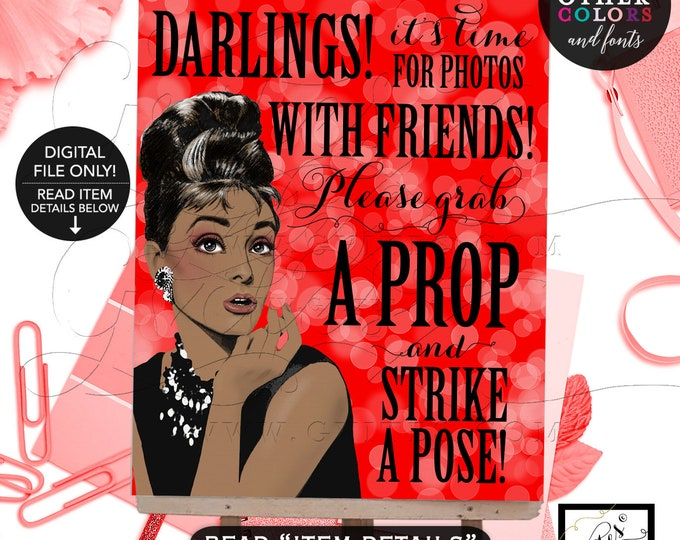 Audrey Hepburn Custom Photo Booth Poster Signs Printable, Mad Men 1960s Party Themed, African American, Strike A Pose, Grab A Prop. 8x10""
