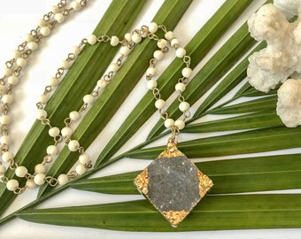 New! // Beaded Gold Edged Druzy Necklace