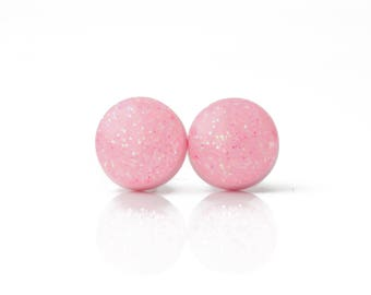 PIXIE PINK GLITTER Stud Earrings. Pink Earrings. Surgical Steel Posts.