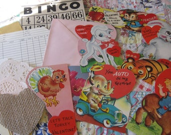 Lot FIVE Vintage Valentine 18 Piece Ephemera Bundle