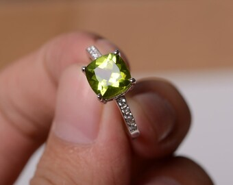 Natural Peridot Ring Silver Size Yellow Green Gemstone Ring August Birthstone Ring