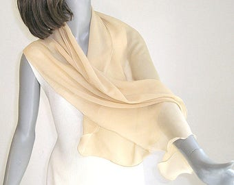 Tan Beige Scarf, Silk Chiffon Coverup, Wheat Small Wrap, Sheer Shawl, One of a Kind, Artisan Handmade, Hand Dyed, Artinsilk, Ready to Ship.