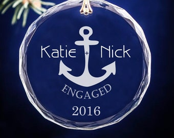 Anchor Nautical Engagement Gift Couple's Monogramed Circle Christmas Ornament
