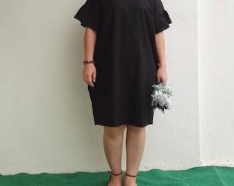 Linen Dress / Ruffle Sleeves Loose Fit Black Linen Dress