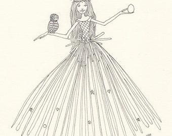 Birthday Dress, Spring Art, Owl Totem, Whimsical Greeting Card or Photographic Art Print