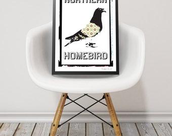 Modern Print. Illustration. Black & White Poster. Digital Print. Racing Pigeon Print. Northern Homebird Print