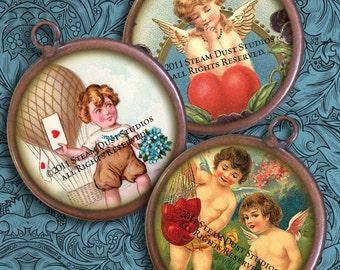 Victorian Valentines - Antique Cherubs, Hearts, Love - 1-Inch Circles - Digital Collage - Instant Download