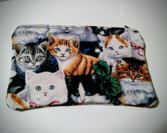 FREE SHIPPING - Handmade Crazy for Cats! zippered coin pouch/purse