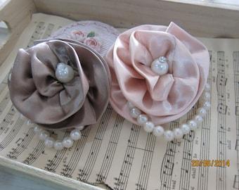 1pcs-Satin Rolled Fabric Flower/NF18-Handmade Fabric Flower/Head Piece/