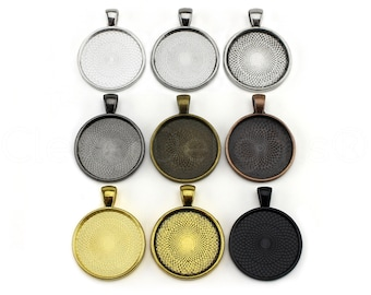 20 - 1 Inch Round Pendant Trays - Mix and Match - Silver Gold Bronze Copper Gunmetal Black - Pendant Blanks Bezel Setting 25 mm 1""