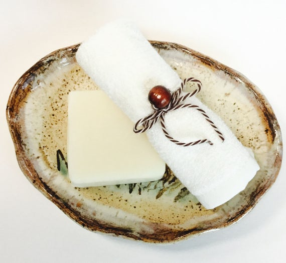 PEPPERMINT LATTE 4 oz Bar with Cream White Bamboo Washcloth   Super Soft Luxurious   Organic  Hypoallergenic