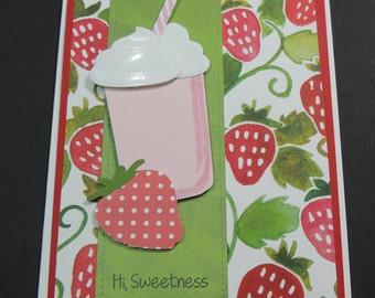 Handmade Hand Stamped  Card, Strawberry Milkshake, Any Occasion Card, Fruit Card, Strawberries.