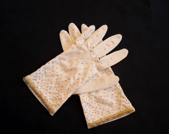 Vintage Gloves - Beaded Gloves - Short, Beige, Beaded Gloves - 1950s, 1960s Vintage - Small