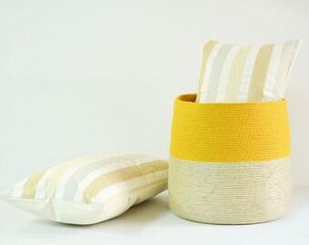 Large basket with cotton rope in mustard and jute, Handmade basket, Floor basket, Jute twine basket, woven basket, storage basket