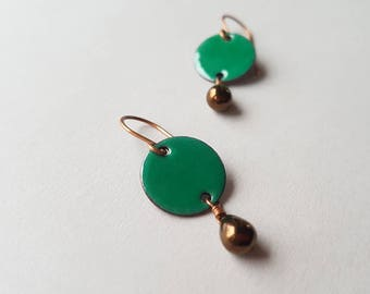 Emerald Green Dangle Earrings with Bronze Glass Teardrops - Enamel on Copper Jewelry - Birthday Gift for her