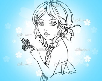 Butterfly Girl - Line Art Digital Stamp Image Adult Coloring Page Printable Instant Download