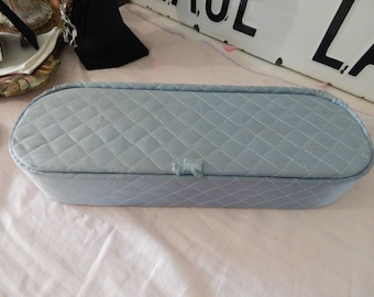 Vintage Shabby Chic Satin Quilted Handkerchief /Hankie Box/ Jewelry/Makeup Box