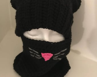Crocheted Kitty Hat and Neck/Face Warmer- Black