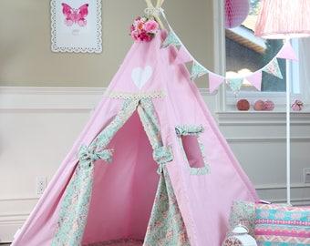 Belle Teepee Package with Poles,FLoor,LED Light, Flags, Kids Teepee,Play Tent,Childrens Teepee, Teepee Tent,Tipi,Playhouse,Kids Room Decor
