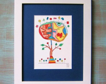 Art Tree, Original Watercolor Painting, Framed Painting, Abstract Art, Contemporary Art, by Fig Jam Studio