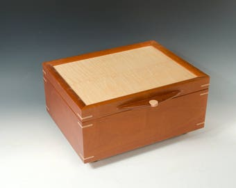 Handcrafted Jewelry Box of Mahogany with Tiger Maple veneered lid