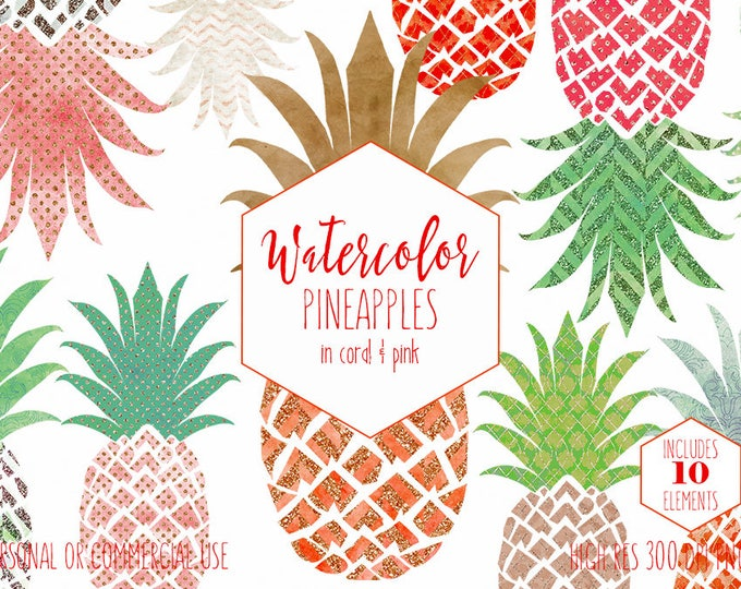 PEACH & ROSE GOLD Pineapple Clipart Commercial Use Clip Art Fun Tropical Fruit with Metallic Rose Gold Glitter 10 Pineapple Planner Graphics