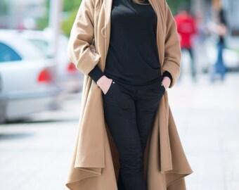 Winter coat women, Women Cashmere Coat, loose fitting winter coat, Camel coat, Trendy Cashmere coat, Asymmetric Coat, Winter Coat - CT0016CA