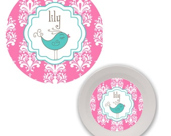personalized kids plate and bowl set - 2 pieces bird damask