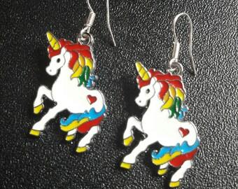 Unicorn girls earrings - girls gift - children's jewellery - dangle earrings - Ladies Earrings -