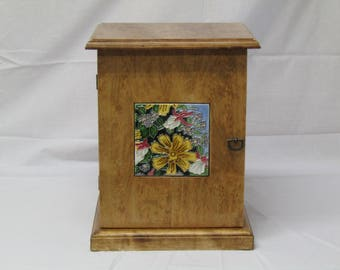 Jewelry Box Handcrafted from Birdseye Maple Wood with an Benaya Art Tile on door