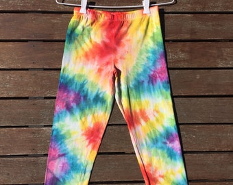 Size 10 trippy hippie colourful 3/4 length leggings. Tie dye festival!