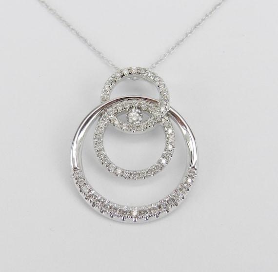 "14K White Gold Diamond Drop Pendant Wedding Gift Necklace Chain 18"" Modern"