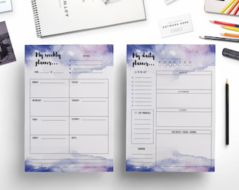 Creative watercolor weekly planner  + daily planner /weekly printable / printable planner / planner template / creative planner