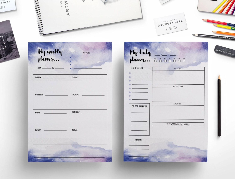 Creative watercolor weekly planner daily planner /weekly