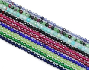 Lovely Bead Natural Faceted 2mm Round Gemstone Beads, AA Quality (16 Inches Long Strand)
