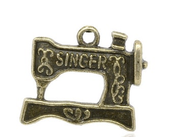 4 Bronze Sewing Machine Charms Sewing Pendants Tailor Charm Seamstress Charm Needle Thread Bobbin  4000