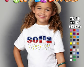 Personalized Name with Flag and Stars design - Memorial Day / 4th of July -  Patriotic - T-Shirt - Girls - Youth