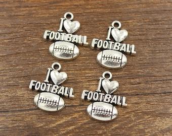 20pcs I Love Football Charms Antique Silver Tone 19x20mm - SH13