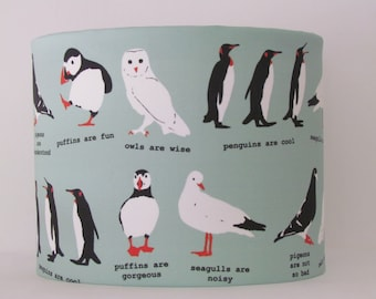 NEW Handmade quirky wordy birdy owl puffin penguin pigeon drum  Lightshade Lampshade