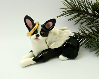Boston Terrier Angel PORCELAIN Christmas Ornament Figurine Memorial