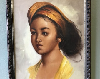 Vintage Painting of Beautiful Young Girl -Pick Up Only-