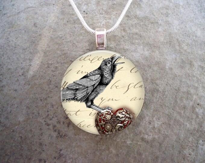 Crow Jewelry - Bird Jewellery - Glass Pendant Necklace - Raven 4