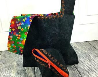Black/orange Project bag gift set - black knitting bag set - reversible wristlet tote bag - Japanese Knot bag - Small pea pod zipper pouch