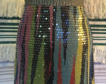 Vintage MISSONI high waist shimmering sequin stretch knit shorts multi colour for festival disco party
