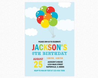 Balloon Birthday Party Invitations, Balloon Bouquet, Boys Birthday, Personalized, Printable JPEG/PDF or Printed Invitations