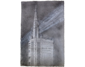 Chicago Temple No. 2 (First United Methodist Church of Chicago): pulp painting on handmade hemp / cotton paper (2018), Item No. 272.02