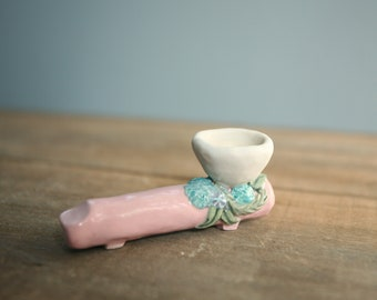 Ceramic Pipe, Soft Pink Wildflower Collection, Raised Floral Design, Handmade, Unique Pipe, Boho Style, Tobacco Smoking Pipe